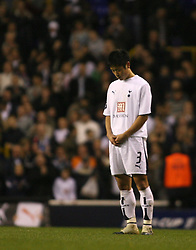 London, England - Wednesday, March 14, 2007: Tottenham Hotspur's Young-Pyo Lee says a prayer(?) at the end of the game against SC Braga during the UEFA Cup match at White Hart Lane. (Pic by Chris Ratcliffe/Propaganda)