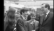 Aer Lingus Young Scientist of the Year..1971..08.01.1971..01.08.1971..8th January 1971..The annual Aer Lingus Young Scientist of the year was held in The R.D.S.Dublin.Once again, this year,there was an outstanding display of projects by school children from around the country,many of which,it is hoped,will have applications into the future. The main speaker at the event was Mr Patrick Faulkner TD, Minister for Education..Image of the Minister congratulating Peter J Shortt,(centre), overall winner of the Young Scientist Award,from Presentation College,Clane and both runners up, Joyce Greene,Holy Trinity College, Cork and Peter Duggan,Gonzaga College,Dublin.