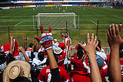 A group supports to the Toros Neza soccer team during a game in the Neza 86 Stadium in Ciudad Nezahualcoyotl, March 13, 2011.