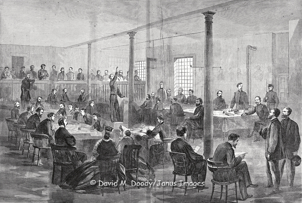 Trial of the Lincoln conspirators including Booth.  President Abraham Lincoln's Assassination. Harper's Weekly, Saturday June 3, 1865