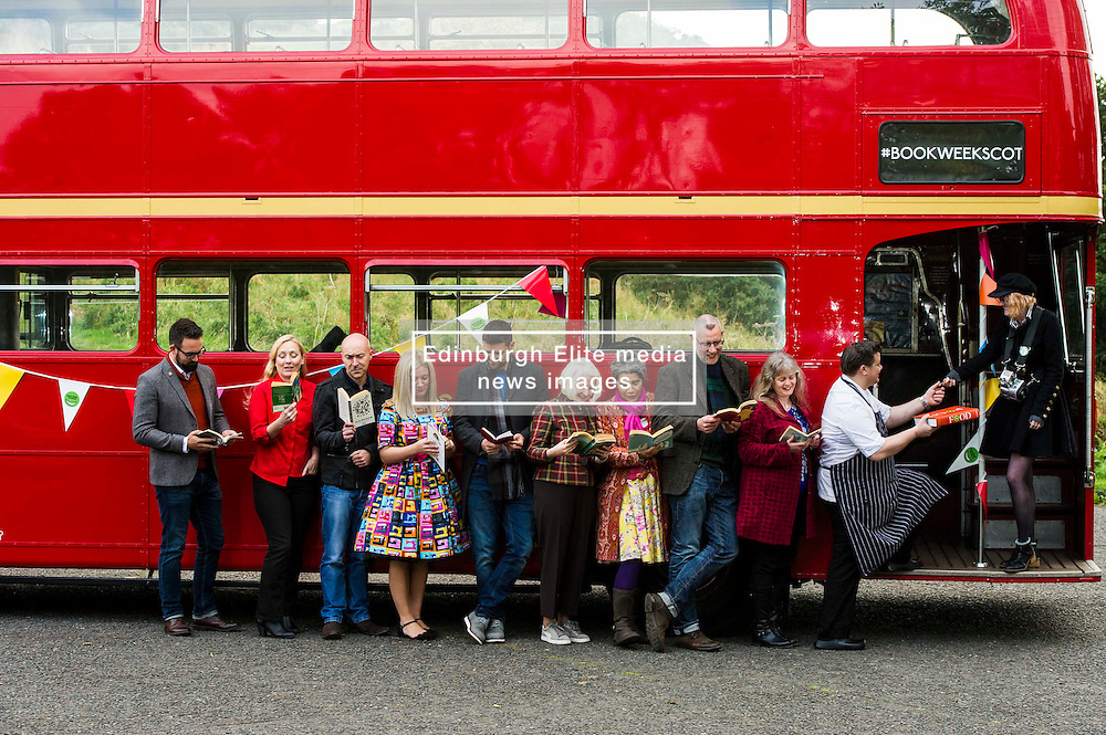 Pictured: Billy Letford (dark hair, beard, blue jeans, scarf), Caro Ramsay (Blond hair, red shirt) , Martin Stewart (Rust coloured jumper), Pamala Butchart (colourful dress), Lari Don (long hair, Red jacket), Chris Brookmyre (bald, dark jacket) Graeme Macrae Burnet (tartan scarf), Christine de Luca (Tartan jacket), Mark Greenway (chef) and Debi Gliori (yellow patterned skirt, pick scarf)<br /> <br /> Ten Scottish authors gathered in Edinburgh on a vintage red bus with Book Week Scotland 2016 as the final destination which is being held between November 21 and 27 2016<br /> <br /> Ger Harley   EEm 5 October 2016