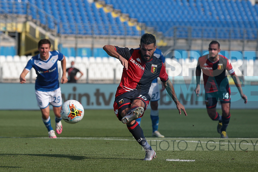 Genoa's Spanish striker Iago Falque scores from the penalty mark to reduce the arrears to 2-1 during the Serie A match at Stadio Mario Rigamonti, Brecsia. Picture date: 27th June 2020. Picture credit should read: Jonathan Moscrop/Sportimage