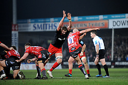Willi Heinz of Gloucester Rugby clears the ball- Mandatory by-line: Nizaam Jones/JMP - 22/02/2019 - RUGBY - Kingsholm - Gloucester, England- Gloucester Rugby v Saracens - Gallagher Premiership Rugby