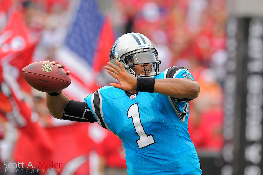 Carolina Panthers quarterback Cam Newton (1) looks to throw upfield during warmups prior to his team's game against the Tampa Bay Buccaneers  at Raymond James Stadium  on September 9, 2012 in Tampa, Florida.  The Bucs won 16-10..©2012 Scott A. Miller...