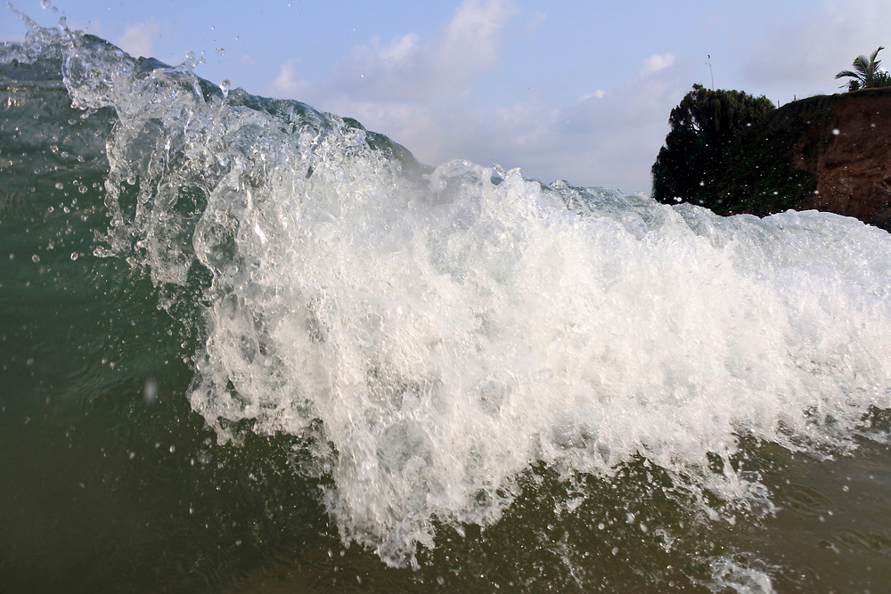 close up of beach waves in Sri Lanka