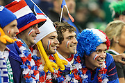 French rugby fans during the Rugby World Cup Pool D match between France and Ireland at Millenium Stadium, Cardiff, Wales on 11 October 2015. Photo by Shane Healey.