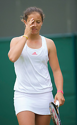 LONDON, ENGLAND - Monday, June 22, 2009: Laura Robson (GBR) looks dejected during her 6-3, 4-6, 2-6 defeat during the 1st Round of the Ladies' Singles on day one of the Wimbledon Lawn Tennis Championships at the All England Lawn Tennis and Croquet Club. (Pic by David Rawcliffe/Propaganda)