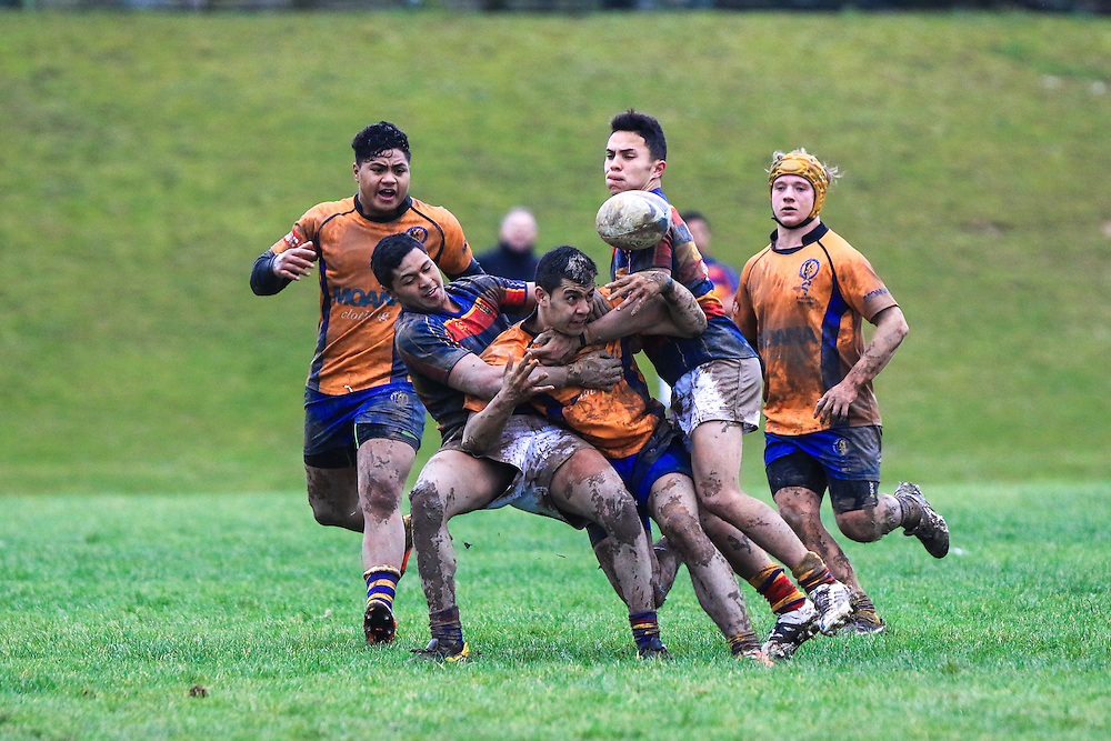 Rugby union game played between Tawa College 1st XV abd Rongotai College 1st XV, at Tawa, New Zealand on 20 June 2015. Game won 17-13 by Rongotai College.