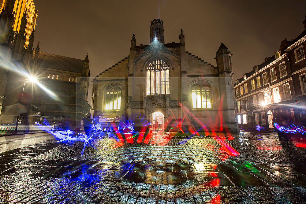 © Licensed to London News Pictures. 30/10/2015. York, UK. Nayan Kulkarni's art installation called Three Graces at St Michael Belfry church as part of the The tenth Illuminating York festival that has taken place in the city, the event runs from Wednesday to Saturday & will see 50,000 people visit the the city. Photo credit: Andrew McCaren/LNP