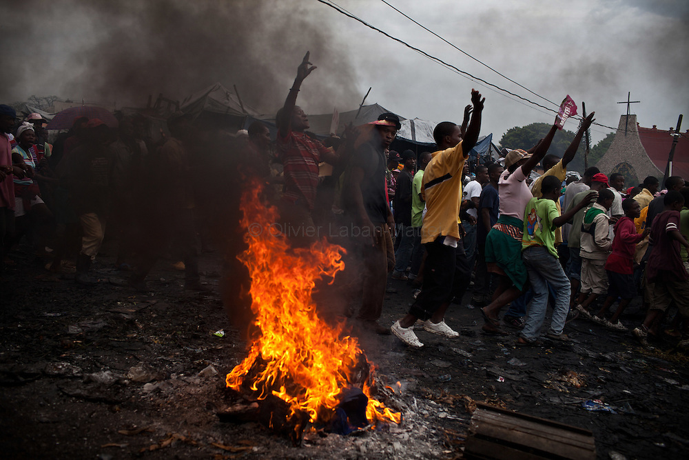 Martelly's supporters demonstrate, in the streets of Port-au-Prince, to protest against the results of the presidential elections and the defeat of their leader, Michel Martelly.
