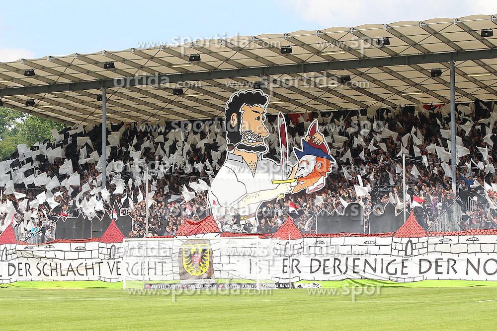 17.05.2015, Scholz Arena, Aalen, GER, 2. FBL, VfR Aalen vs 1. FC Heidenheim, 33. Runde, im Bild VfR Aalen Fans mit Choreographie // during the 2nd German Bundesliga 33th round match between VfR Aalen and 1. FC Heidenheim at the Scholz Arena in Aalen, Germany on 2015/05/17. EXPA Pictures &copy; 2015, PhotoCredit: EXPA/ Eibner-Pressefoto/ Langer<br /> <br /> *****ATTENTION - OUT of GER*****