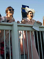 Grand National Meeting - Ladies' Day<br /> e.g. of caption:<br /> National Hunt Horse Racing - 2017 Randox Grand National Festival - Friday, Day Two [Ladies' Day]<br /> <br />   <br /> fns shout encouragement in the 7th race Weatherbys Private Bank Standard Open NH Flat Race (Grade 2) (Class 1)2m 209y, Good<br /> 19 Runners.at Aintree Racecourse.<br /> <br /> COLORSPORT/WINSTON BYNORTH