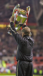 Manchester, England - Tuesday, March 13, 2007: Manchester United's Ole Gunnar Solskjaer walks out at Old Trafford with the European Champions' Cup, which he helped win for United in 1999, before the UEFA Celebration Match against a Europe XI. (Pic by David Rawcliffe/Propaganda)