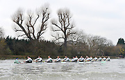 """LONDON, ENGLAND - Thursday  13/12/2012; Cambridge University Crews Bangers""""  [background] taking a slight lead over """"Mash"""", as both crews approach Hammersmitjh Bridge, during the annual Varsity trial 8's for The BNY Melon University Boat Race over the Championship Course [Putney to Mortlake]. The River Thames, England. (Mandatory Credit/ Peter  Spurrier/Intersport Images]"""