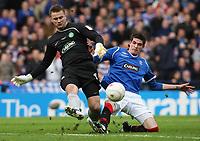 CIS Cup Final<br /> Celtic v Rangers<br /> Hampden Park<br /> Glasgow<br /> <br /> Celtic goal keeper Artur Boruc and Rangers Kyle Lafferty<br /> 15/03/2009 Credit Colorsport / Ian MacNicol