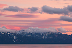 """Sunset at Lake Tahoe 32"" - Photograph of a pink sunset over Heavenly Ski Resort and Lake Tahoe, shot from Tahoe City."