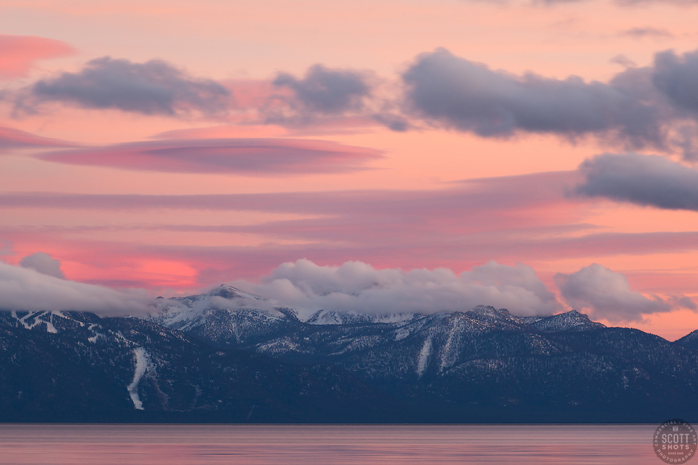 """""""Sunset at Lake Tahoe 32"""" - Photograph of a pink sunset over Heavenly Ski Resort and Lake Tahoe, shot from Tahoe City."""