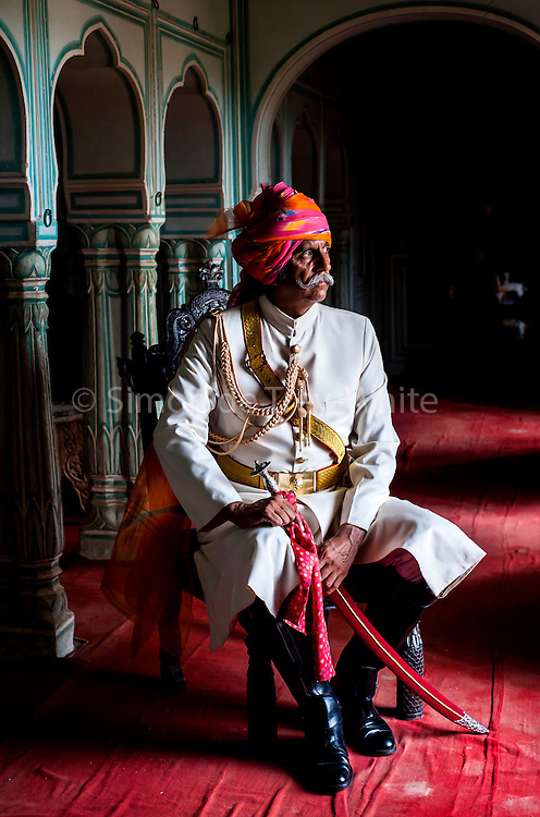 Kanwar Raghuvendra Singh Dundlod, founding Secretary General of the Indigenous Horse Society of India, in his ancestral home, Dundlod Fort, Rajasthan, India, 13th June 2008<br /> <br /> Raghuvendra Singh Dundlod is co-owner of the Marwari Bloodlines stud farm in Dundlod, dedicated to the preservation and international recognition of the indigenous horses of India. Of these horses the Mawari is considered the most regal. Its defining characteristics are the unique lyre shaped ears which can rotate 180 degrees individually or together; they are one of the most ancient and purest breeding lines; they have endurance considered to be on a par with Arabian horses; they were bred in India by the 12th century Marwar rulers for battle in which they excelled; known for particularly for its loyalty, speed and stamina. The breed came to the point extinction during the Raj as a result of British persecution and numbers remained critically low until the formation of the Indigenous Horse Society of India in 1996. The breed remains threatened to this day.<br />   <br />  PHOTOGRAPH BY SIMON DE TREY-WHITE/ BARCROFT MEDIA LTD + 44 (0) 845 370 2233 photographer in delhi photographer in delhi photographer in delhi