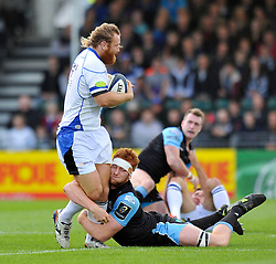 Ross Batty of Bath Rugby is tackled - Photo mandatory by-line: Patrick Khachfe/JMP - Mobile: 07966 386802 18/10/2014 - SPORT - RUGBY UNION - Glasgow - Scotstoun Stadium - Glasgow Warriors v Bath Rugby - European Rugby Champions Cup