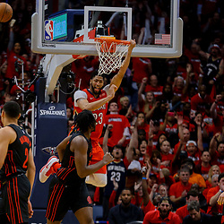 Apr 19, 2018; New Orleans, LA, USA; New Orleans Pelicans forward Anthony Davis (23) dunks against the Portland Trail Blazers during the second half in game three of the first round of the 2018 NBA Playoffs at the Smoothie King Center. The Pelicans defeated the Trail Blazers 119-102.  Mandatory Credit: Derick E. Hingle-USA TODAY Sports