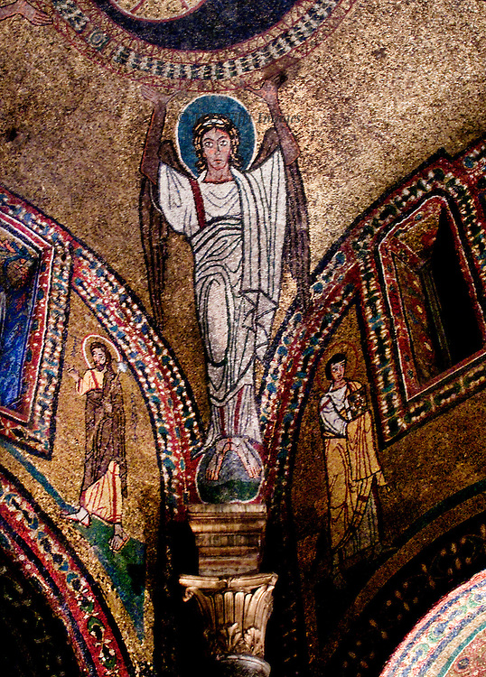 Rome, Santa Prassede, chapel of Saint Zeno, dome, pendentives, mosaics.  8th century. Detail of one pendentive with figure of an angel wearing a white robe, standing on a globe,  hands upraised as though holding up the central dome with its figure of Christ Pantocrator.