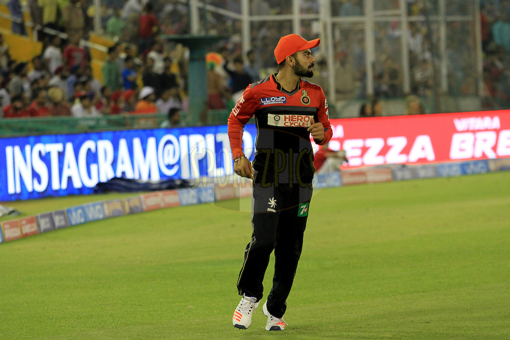 Royal Challengers Bangalore captain Virat Kohli in orange cap during match 39 of the Vivo Indian Premier League ( IPL ) 2016 between the Kings XI Punjab and the Royal Challengers Bangalore held at the IS Bindra Stadium, Mohali, India on the 9th May 2016<br /> <br /> Photo by Arjun Singh / IPL/ SPORTZPICS