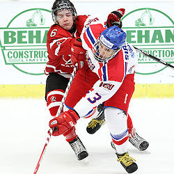 COBOURG, - Dec 13, 2015 -  Game #1 - Czech Republic vs Canada West at the 2015 World Junior A Challenge at the Cobourg Community Centre, ON. Brinson Pasichnuk #6 of Team Canada West and Jakub Sirota #3 of Team Czech Republic battle for the puck during the first period.(Photo: Tim Bates / OJHL Images)