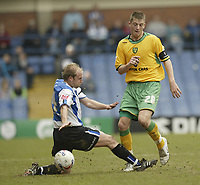 Photo: Aidan Ellis.<br /> Sheffield Wednesday v Norwich City. Coca Cola Championship. 15/04/2006.<br /> Norwich's Michael Spillane and Sheffield's John Hills