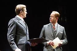 © Licensed to London News Pictures. 26/03/2012. London, UK. Playful Productions and Michael Alden present the stage production of The Kings Speech, by David Seidler, at Wyndhams Theatre, London.Picture shows: Charles Edwards as Bertie and Daniel Betts as David, King Edwards VIII. Photo credit : Tony Nandi/LNP