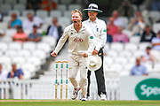 Wicket! Gareth Batty of Surrey celebrates taking the wicket of Heino Kuhn of Kent during the Specsavers County Champ Div 1 match between Surrey County Cricket Club and Kent County Cricket Club at the Kia Oval, Kennington, United Kingdom on 10 July 2019.