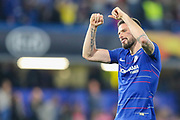 Chelsea forward Olivier Giroud (18) acknowledges the home fans after the Europa League  quarter-final, leg 2 of 2 match between Chelsea and Slavia Prague at Stamford Bridge, London, England on 18 April 2019.