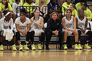 Cedar Ridge head coach, Angela Beck, sits among her players watching the play action against Bowie Tuesday night.  The Lady Raiders beat the Bulldogs 78-49 at home.  (LOURDES M SHOAF for Round Rock Leader.)