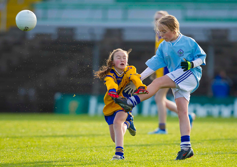 Cumann na mBunScoil Primary School Finals at Pairc Tailteann.Girls division 2 final, Kentstown NS vs Gilson Primary School, Oldcastle..Chloe McNamee (Gilson Primary School, Oldcastle) & Aoife Donnelly (Kentstown NS).Photo: David Mullen / www.cyberimages.net