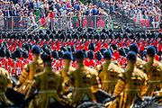 The Guards regiments march past in slow and quick time - The parade on Horse Guards - His Royal Highness the Duke of York reviews the final rehearsal for the Trooping the Colour on Horseguards Parade and the Mall.