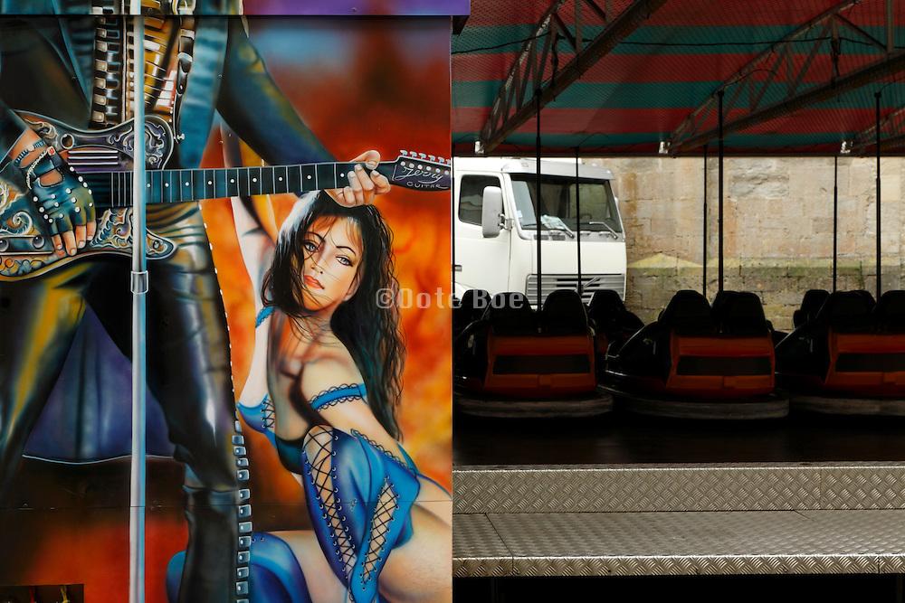 fairground amusement park painting and bumper cars