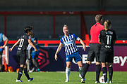 Ji So-Yun (Chelsea) & Dani Bowman (Capt) (Brighton) during the FA Women's Super League match between Brighton and Hove Albion Women and Chelsea at The People's Pension Stadium, Crawley, England on 15 September 2019.