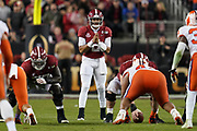 Jan 7, 2019; Santa Clara, CA, USA; Alabama Crimson Tide quarterback Jalen Hurts (2) lines up at the line of scrimmage during the second half in the 2019 College Football Playoff Championship game against the Clemson Tigers at Levi's Stadium.