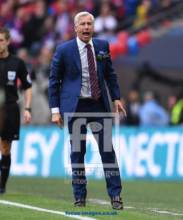 Manager of Crystal Palace Alan Pardew shows his frustration during the FA Cup Final against Manchester United at Wembley Stadium, London<br /> Picture by Andrew Timms/Focus Images Ltd +44 7917 236526<br /> 21/05/2016
