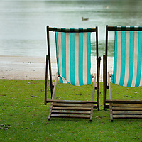Two park deckchairs in Hyde Park, London