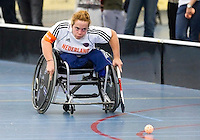 BREDA - Paragames 2011 Breda. Stans van Alten zaterdag tijdens  de interland Nederland-Duitsland  bij het 4-landentoernooi Wheelchair Floorball Hockey, het  Nederlands handvoortbewogen rolstoelhockeyteam.  ANP COPYRIGHT KOEN SUYK