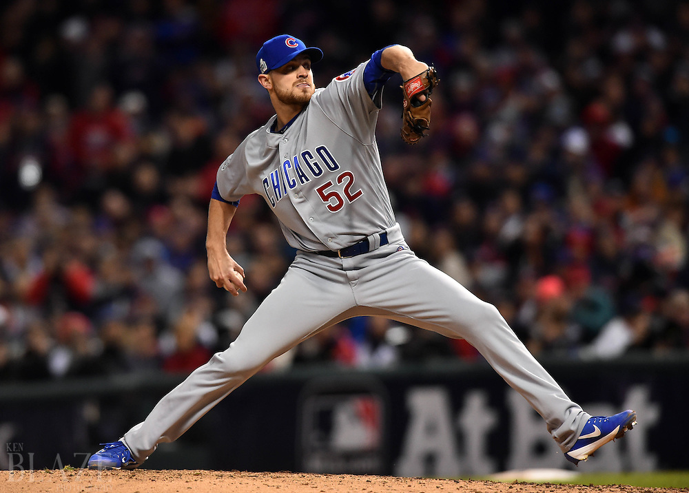 Oct 25, 2016; Cleveland, OH, USA; Chicago Cubs relief pitcher Justin Grimm throws a pitch against the Cleveland Indians in the 7th inning in game one of the 2016 World Series at Progressive Field. Mandatory Credit: Ken Blaze-USA TODAY Sports