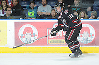 KELOWNA, CANADA - FEBRUARY 18: Kevin Popchuk #21 of the Red Deer Rebels skates on the ice as the Red Deer Rebels visit the Kelowna Rockets on February 18, 2012 at Prospera Place in Kelowna, British Columbia, Canada (Photo by Marissa Baecker/Shoot the Breeze) *** Local Caption ***