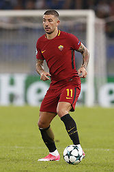 October 31, 2017 - Rome, Italy - Rome, Italy - 31/10/2017..Aleksandar Kolarov of Roma during their UEFA Champions League Group C soccer match against Chelsea at the Olympic stadium in Rome..UEFA Champions League Group C soccer match between AS Roma and Chelsea FC at the Olympic stadium in Rome. AS Roma defeating Chelsea FC 3-0. (Credit Image: © Giampiero Sposito/Pacific Press via ZUMA Wire)