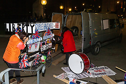 "Silent and forlorn after a long day of bell ringing and drumming, the hard Brexit-supporting ""Liberty Bell"" contraption is loaded into a van. London, January 15 2019."