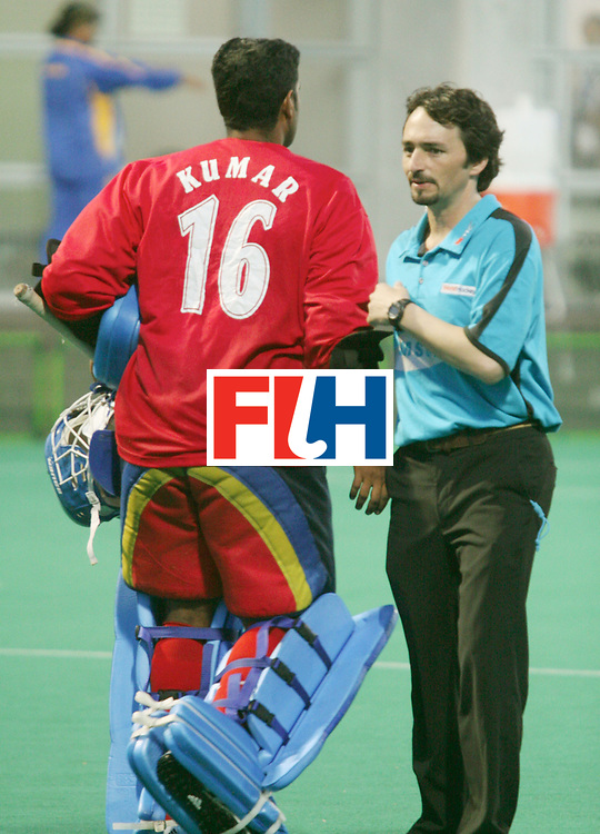 Kakamigahara (Japan): SUBRAMANIAM Kumar, Malaysian Goal keeper seen with Umpire SERVETTO Marcelo (ESP) at the Olympic Hockey Qualifier at Gifu Perfectural Green Stadium at Kakamigahara on 08 April 2008.  <br /> Photo: GNN/ Vino John