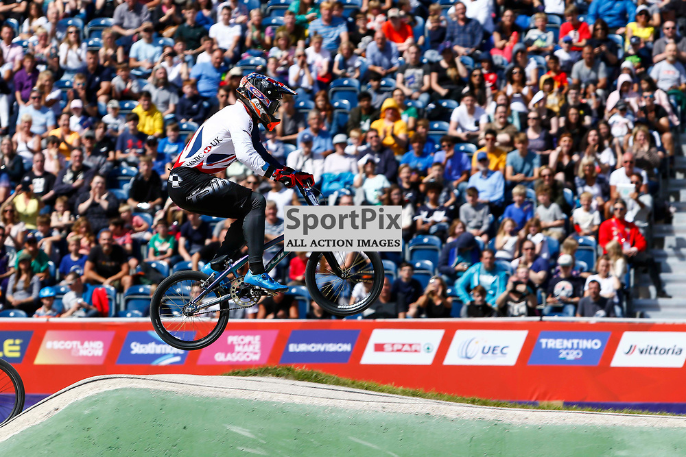 Kyle Evans (GBR) in fornt of his home fans at the Glasgow BMX Centre during the European Championships.