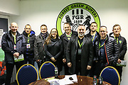 Norwich City fans during the EFL Sky Bet League 2 match between Forest Green Rovers and Plymouth Argyle at the New Lawn, Forest Green, United Kingdom on 16 November 2019.
