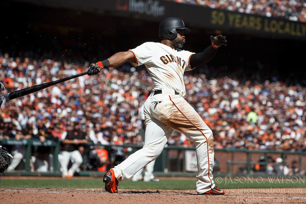 SAN FRANCISCO, CA - OCTOBER 02: Denard Span #2 of the San Francisco Giants at bat against the Los Angeles Dodgers during the third inning at AT&T Park on October 2, 2016 in San Francisco, California. The San Francisco Giants defeated the Los Angeles Dodgers 7-1. (Photo by Jason O. Watson/Getty Images) *** Local Caption *** Denard Span