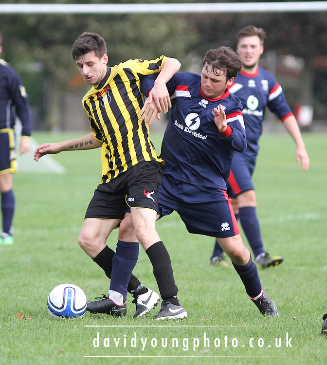 Dundee Social Club (blue) v Boars Rock (yellow and black)- Dundee Sunday FA<br /> <br />  - &copy; David Young - www.davidyoungphoto.co.uk - email: davidyoungphoto@gmail.com