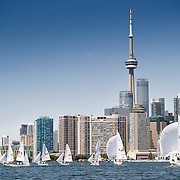 Competition boats in Toronto harbour during the sailing competition at the 2015 PanAm Games in Toronto.
